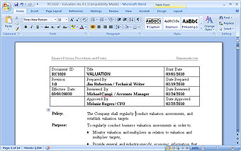 MS-Word editable procedure templates