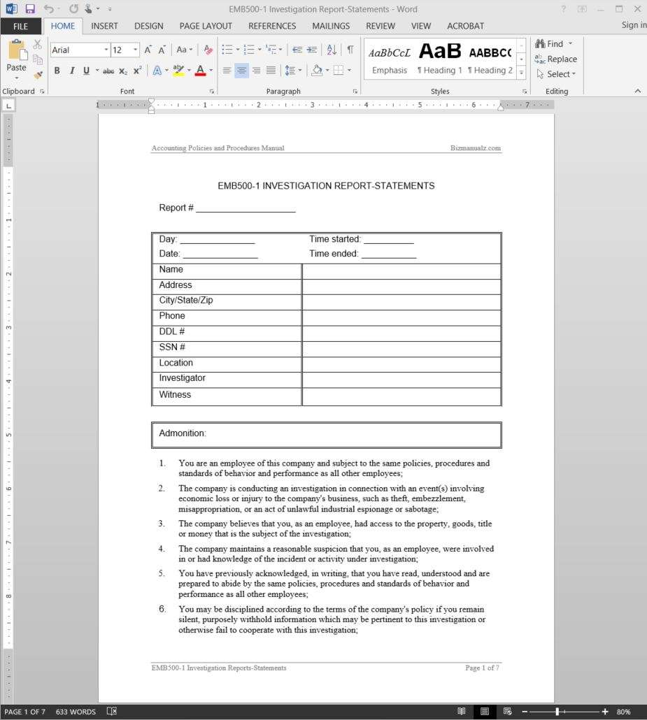 Investigation report template for Private investigator surveillance report template