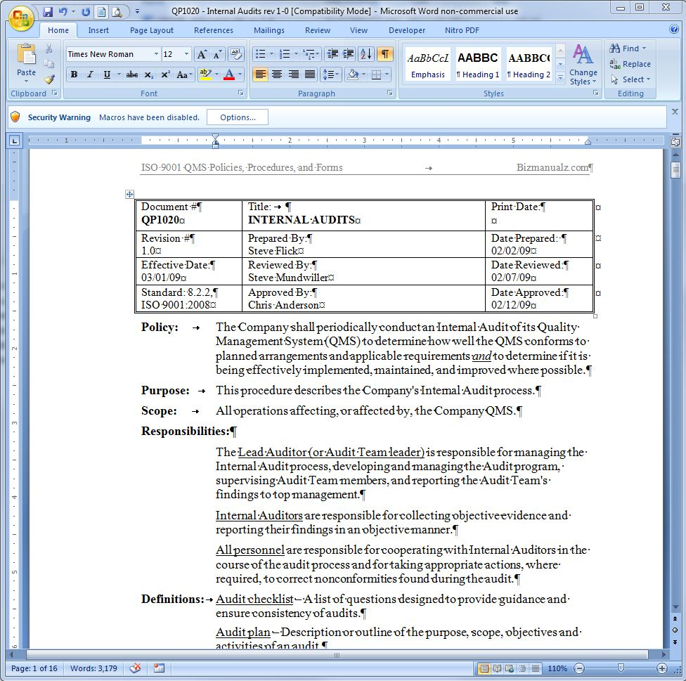 Operations manual template word