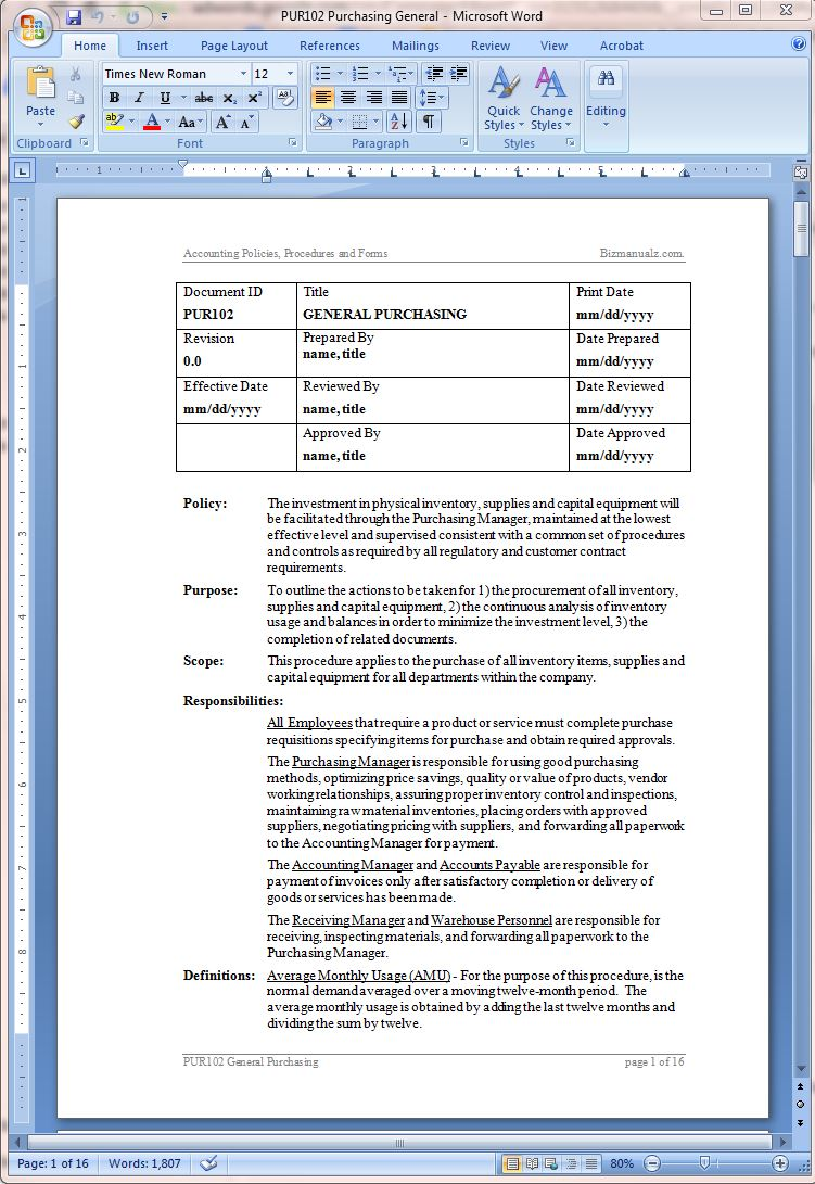 Writing Policies And Procedures Template 36 Page Standard Operating Procedure Sop Template Ms Download PDF