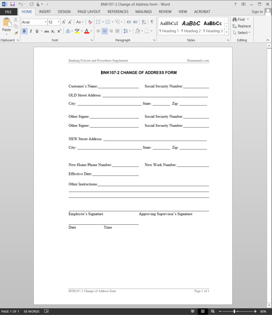 Superior Employee Address Change Form Template Change Of Address Form Employee Address  Change Form Template  Address Change Template