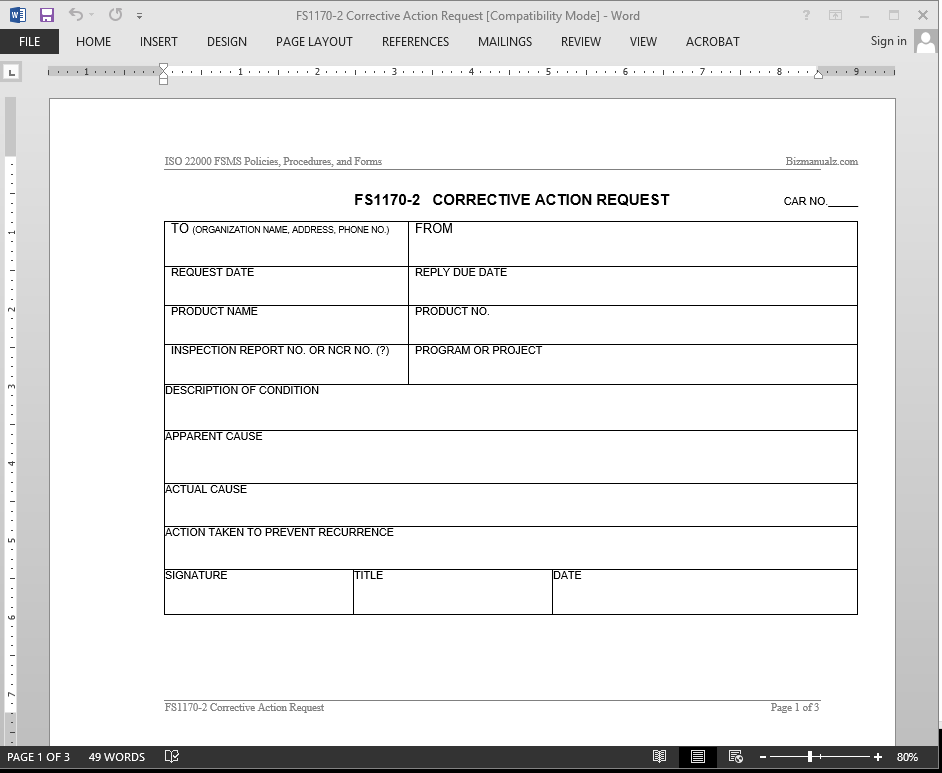 Corrective Action Preventive Action Forms Pictures to Pin on – Corrective Action Plan Template
