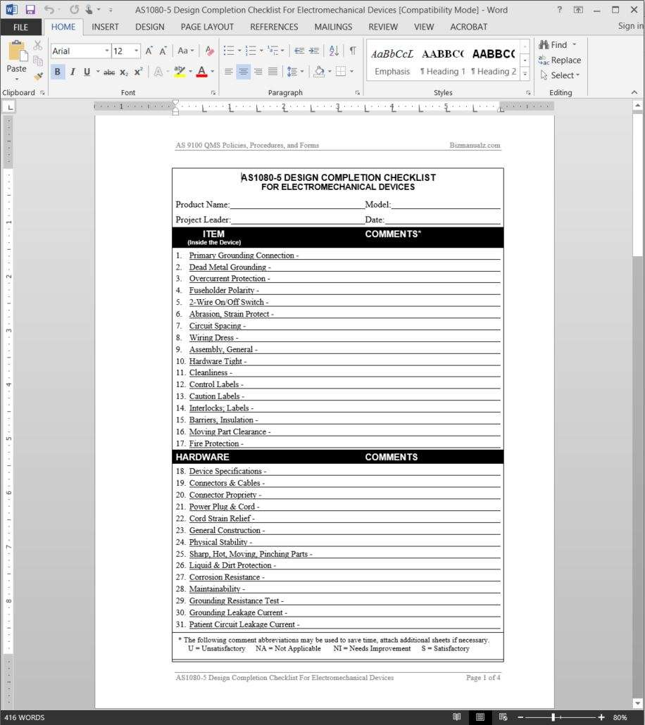 As9100 design checklist electromechanical devices for Design review document template