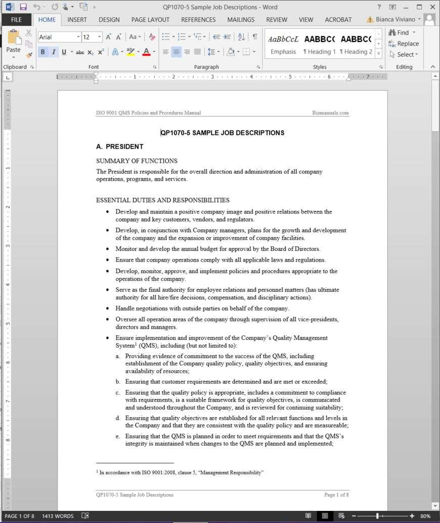 Job descriptions template iso template for Iso 9001 procedures templates