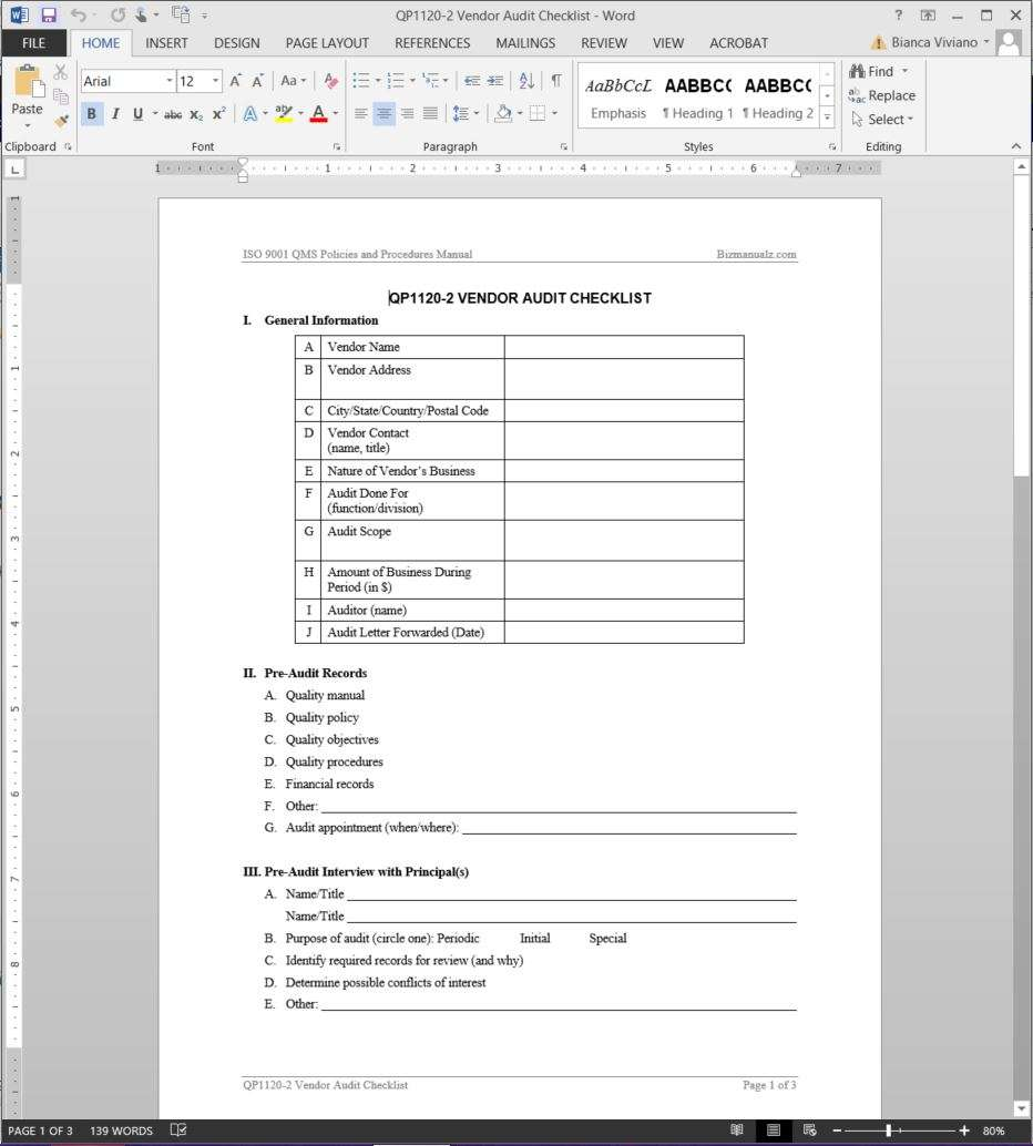 supplier quality manual template - vendor audit checklist iso template