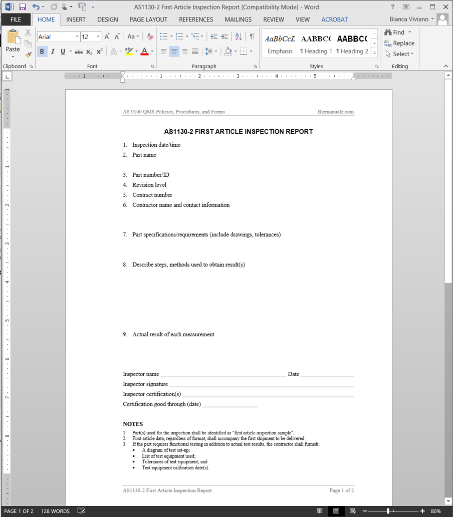 as9100 to start with report forms