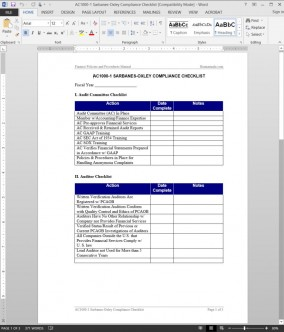 AC1000-1 Sarbanes-Oxley Compliance Checklist Template