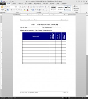 SSAE 16 Compliance Checklist Template AC1010-1
