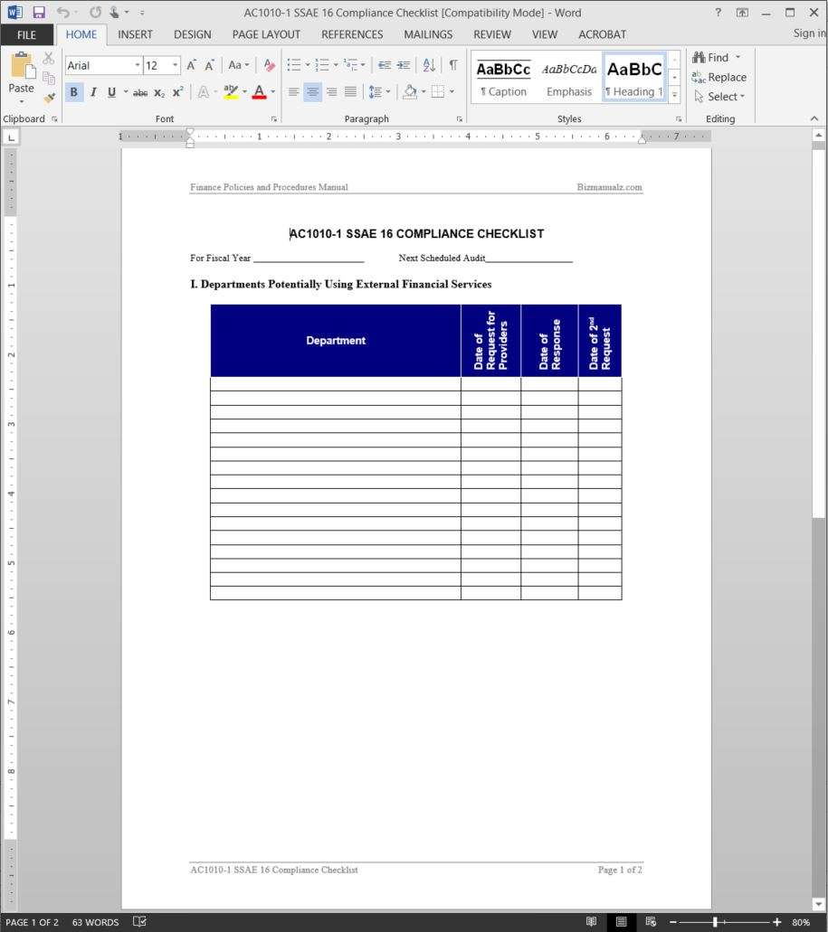 SSAE 16 Compliance Checklist Template AC1010 1  Editable Checklist Template