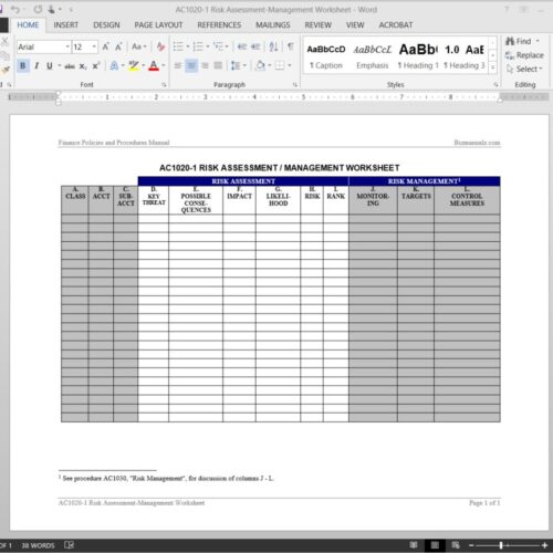 Risk Assessment-Management Worksheet Template AC1020-1
