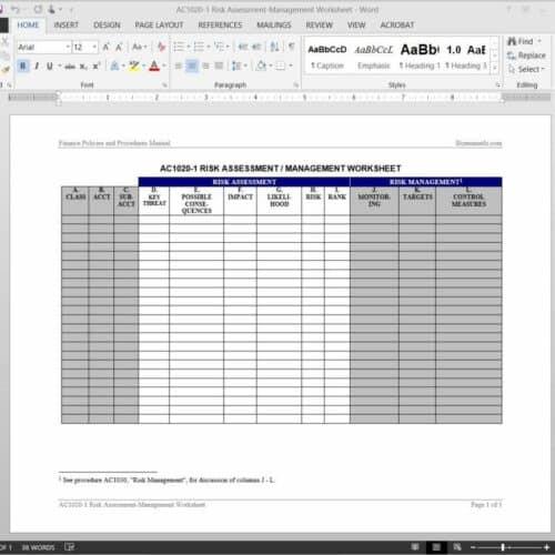 Risk Assessment-Management Worksheet Template AC1020-1