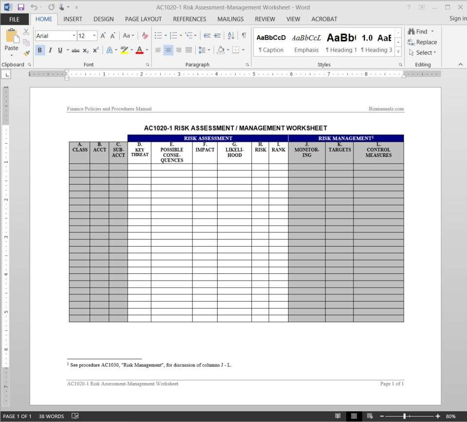 Risk Assessment Management Worksheet Template AC1020 1  Process Risk Assessment Template