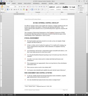 Internal Control Checklist Template AC1020-3