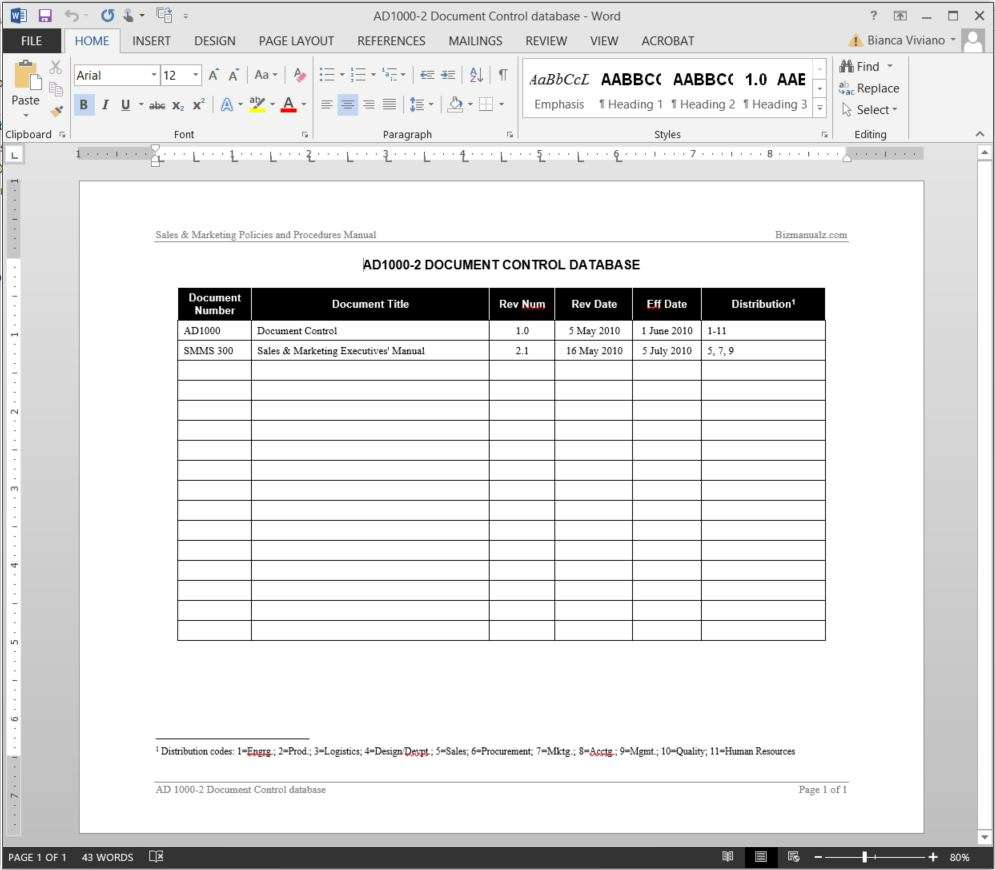 Document control database log template for Database documentation template
