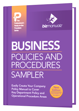 Sample business procedures book for Company policy manual template