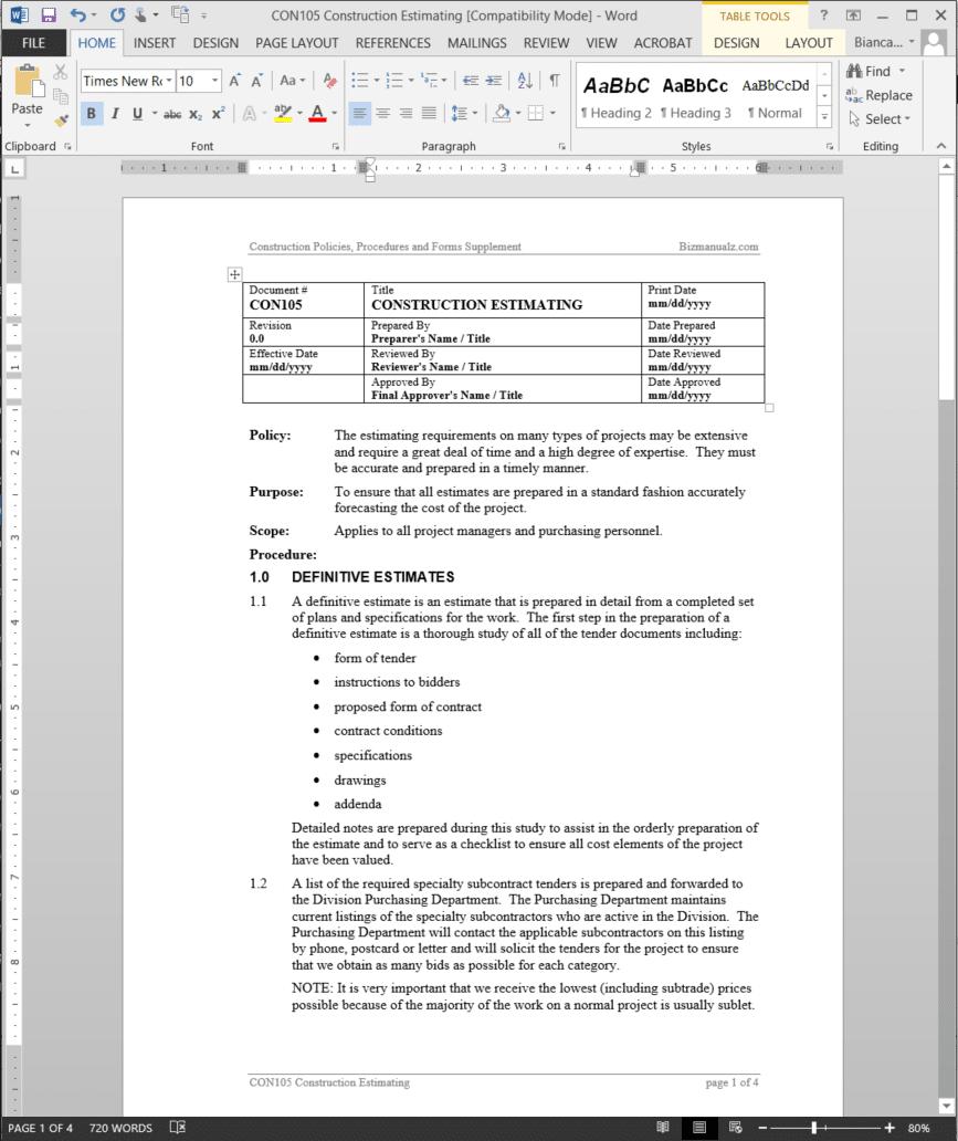 construction estimating procedure