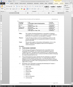 Construction purchasing procedure for Company procedures manual template