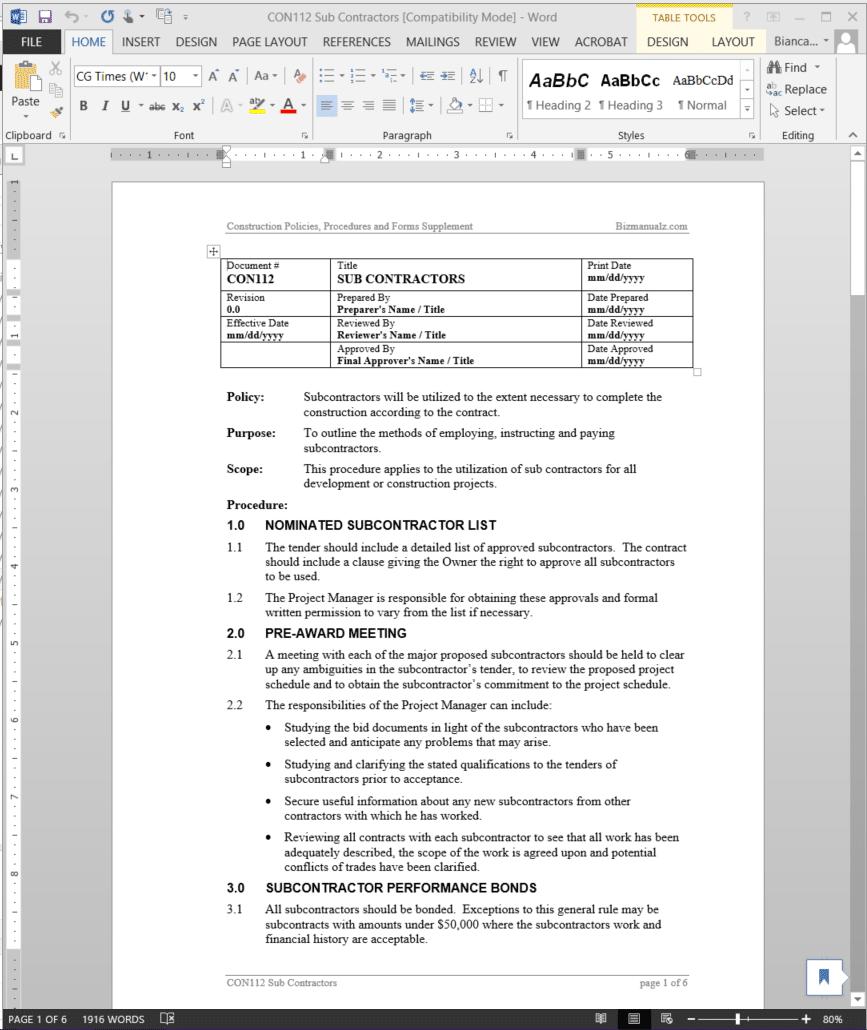 Sub Contractors Procedure