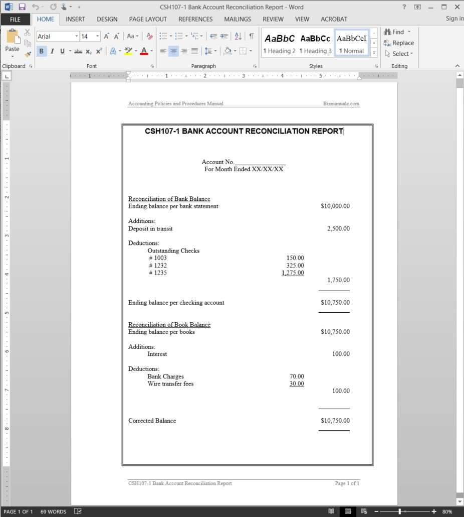 Bank Account Reconciliation Report Example