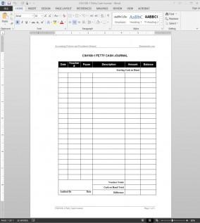 Petty Cash Journal Template CSH108-1