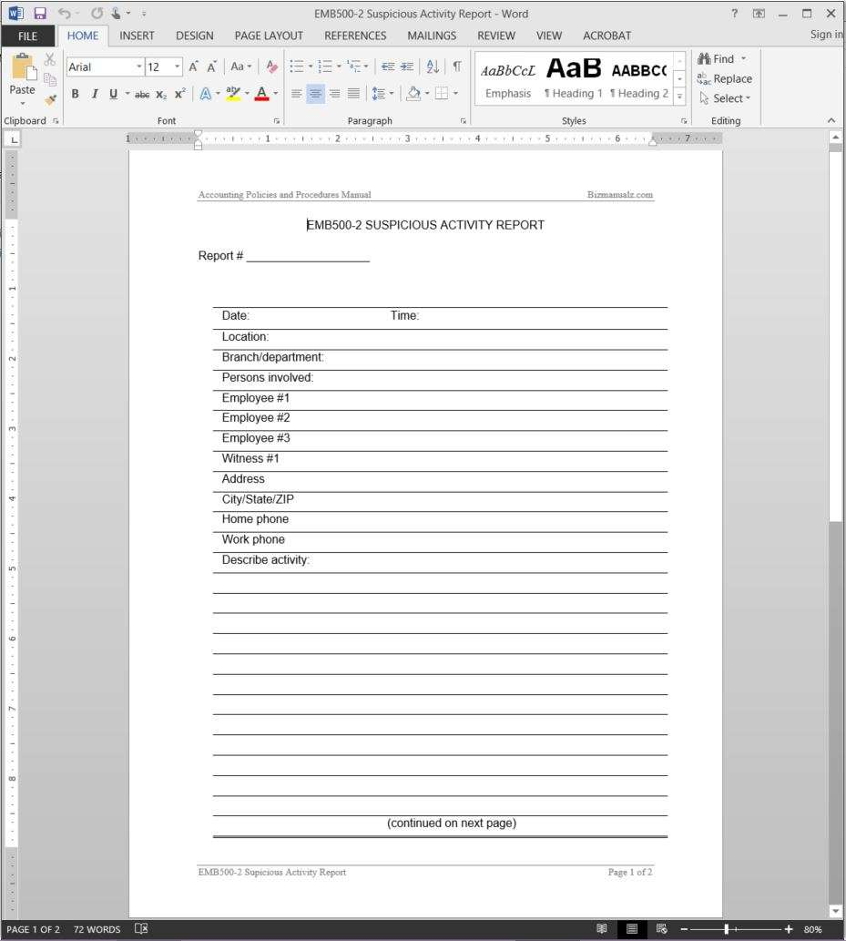 Suspicious Activity Report Template – Daily Report Template Word