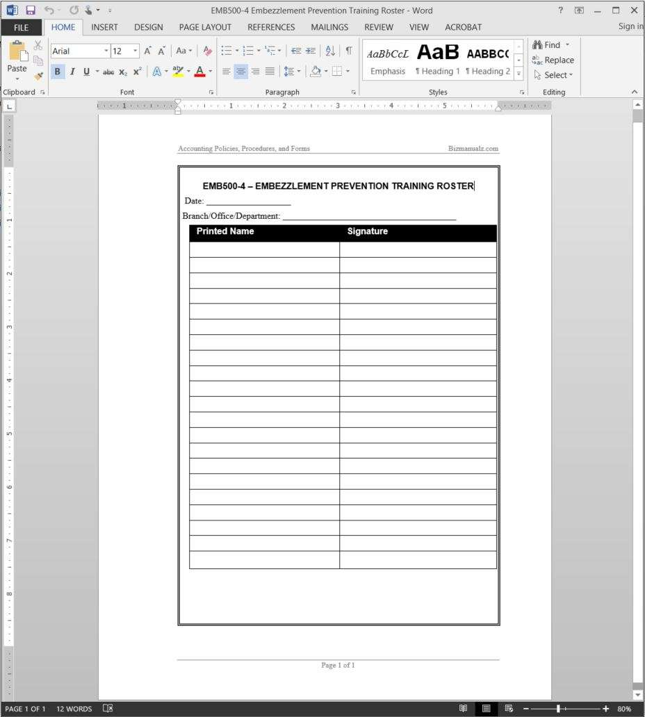 training record template