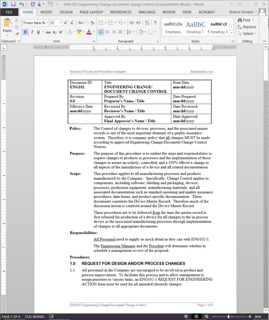 Engineering Change Document Change Control Procedure | ENG102