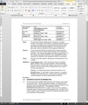 ENV102 Hazardous Waste Management Procedure