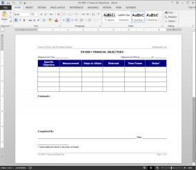 Financial Objectives Worksheet FA1000-1