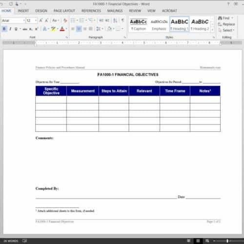 Financial Objectives Worksheet FA1000-1