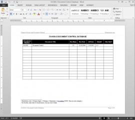Financial Document Control Log Template