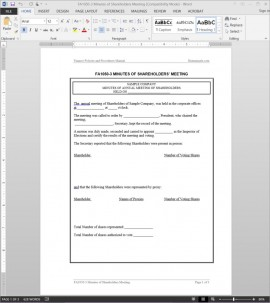 Shareholders Meeting Minutes Template