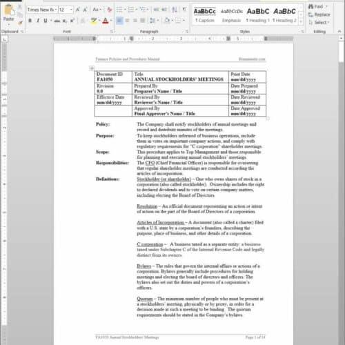 Annual Stockholders Meetings Procedure