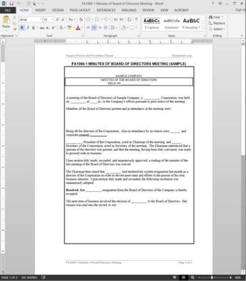 Board of Directors Minutes