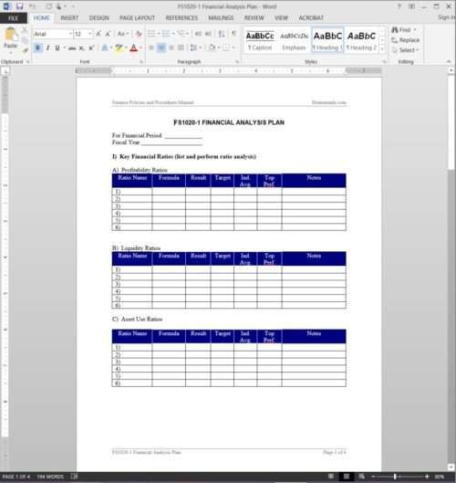 Financial Analysis Plan Template FS1020-1