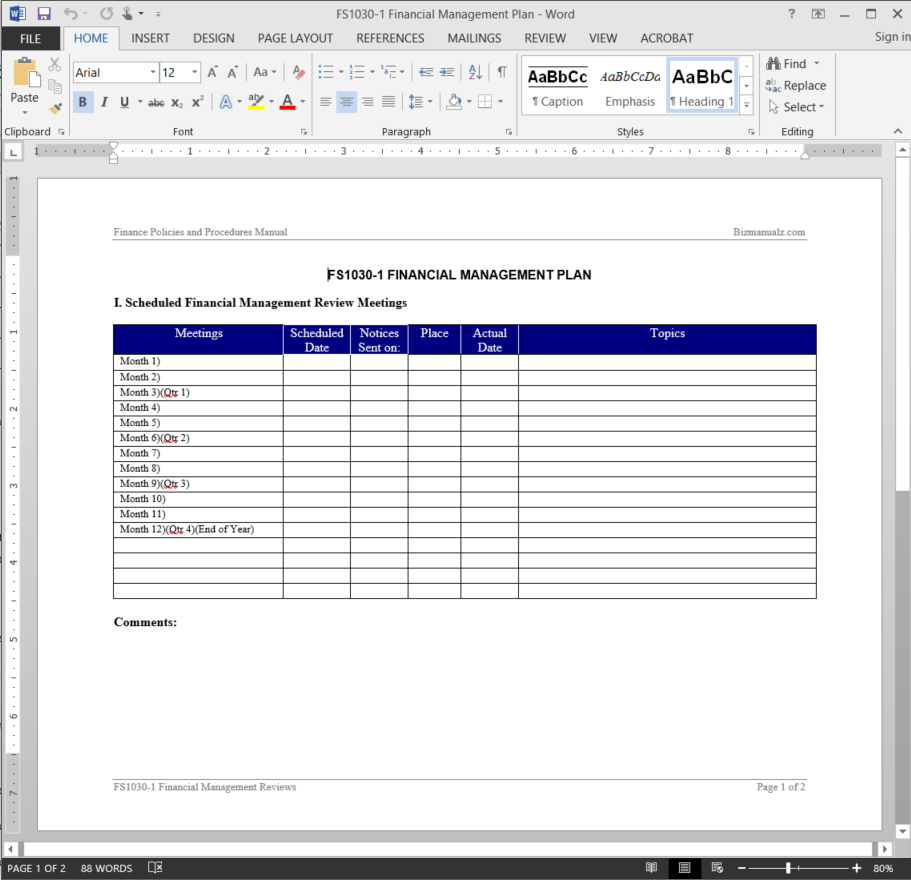 Financial Management Plan Template
