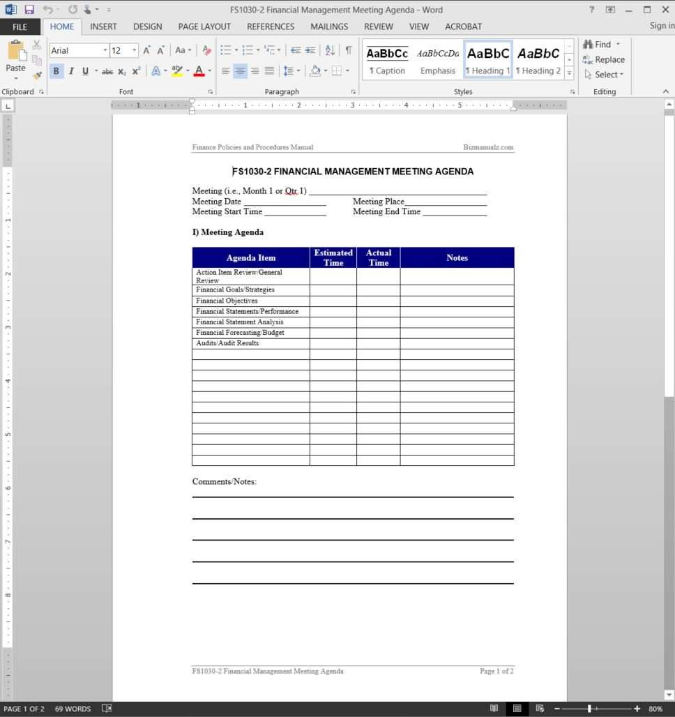 financial management meeting agenda template