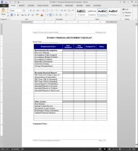 Financial Restatement Checklist Template FS1040-1
