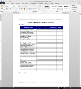 Financial Restatement Checklist Template FS1040-1