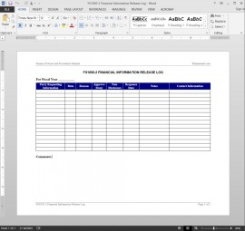 Financial Information Release Log Template FS1050-2