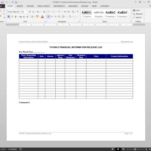 Financial Information Release Log Template FS1050-2