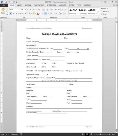 Travel Arrangements Request Template