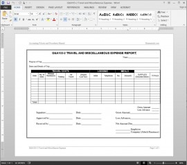 Travel Miscellaneous Expense Report Template