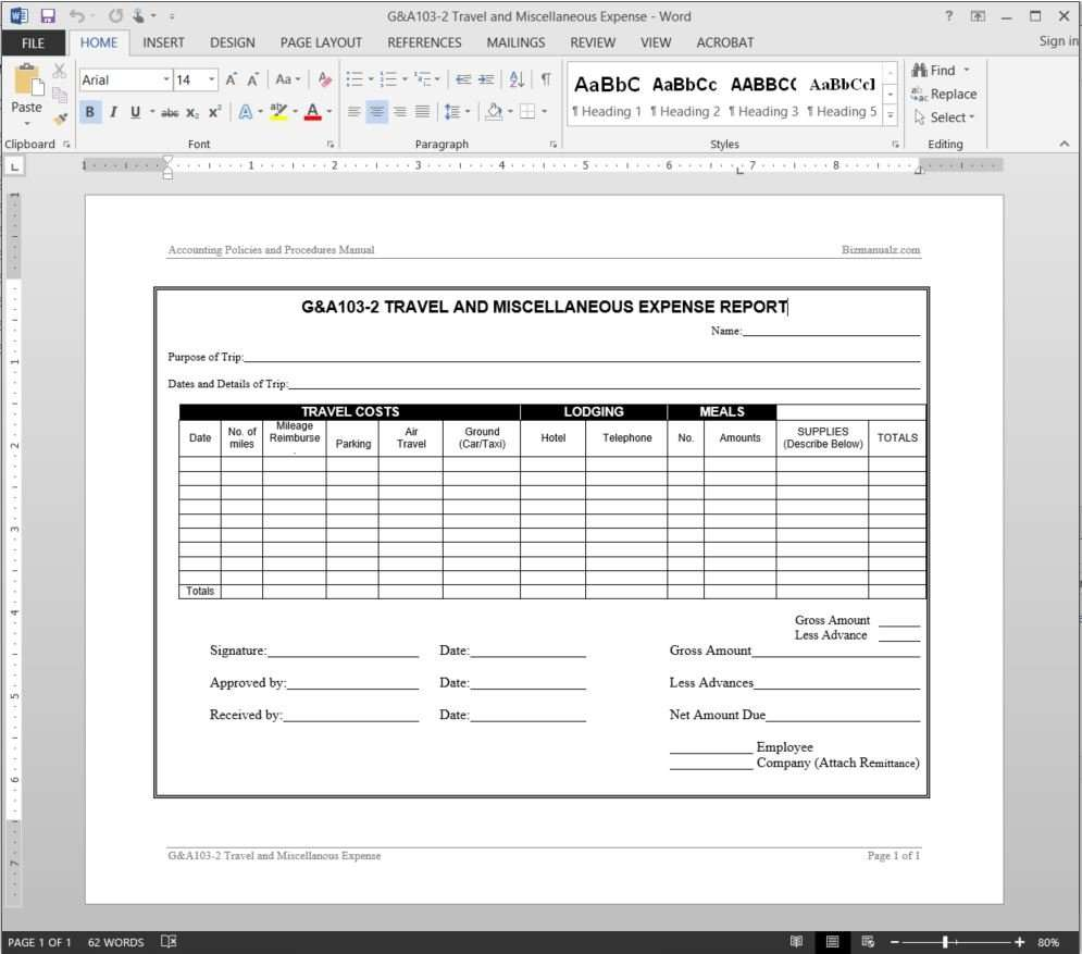 Travel Miscellaneous Expense Report Template  Annual Expense Report Template
