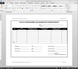 Entertainment Business Expenses Report Template