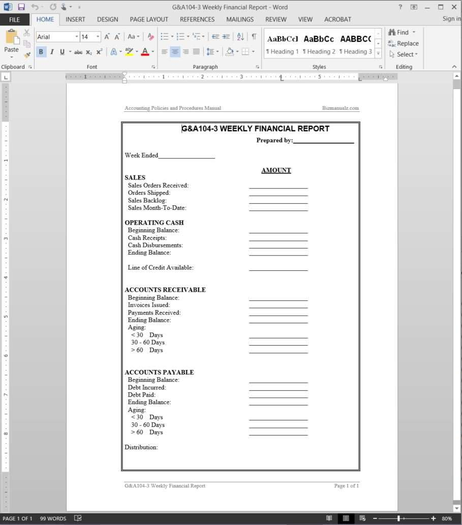 Weekly Financial Report Template  Financial Reports Templates
