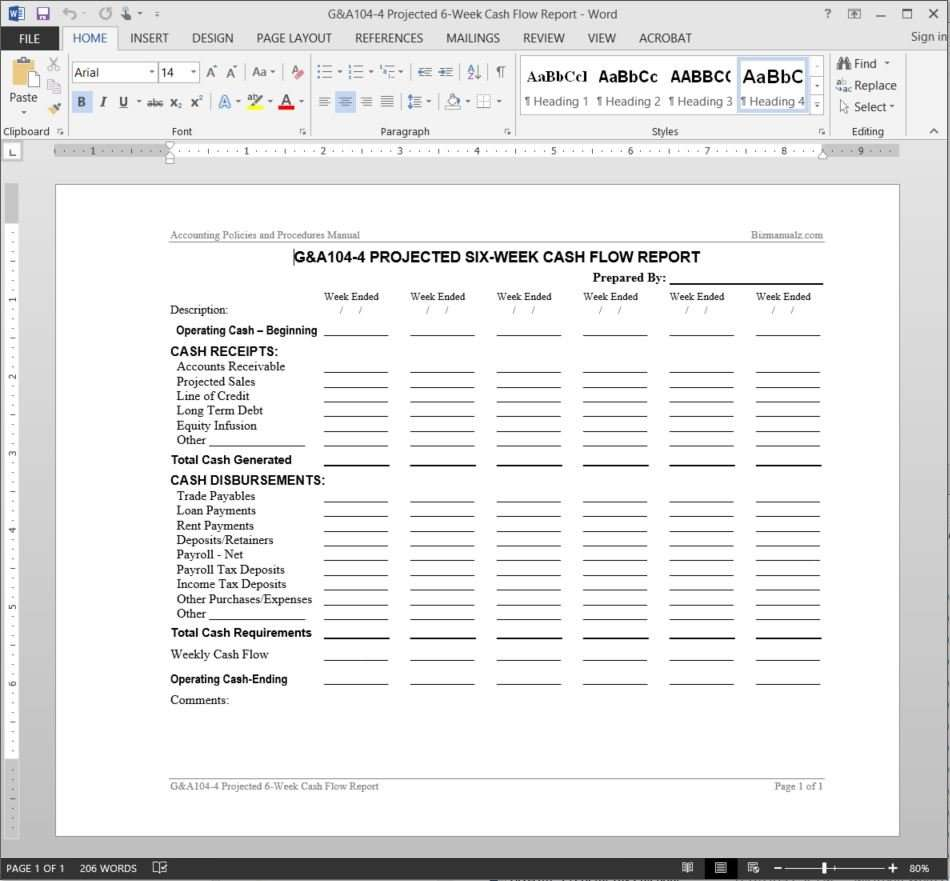 Projected 6 week cash flow report template for Liquidity report template
