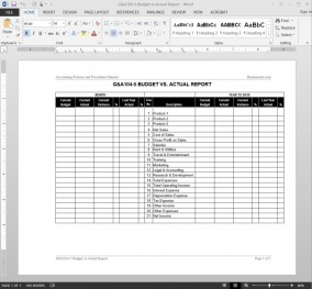 Budget vs Actual Report Template