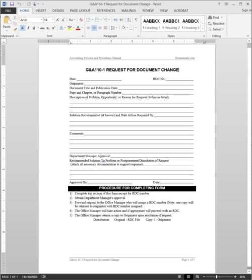 Document Change Request Template