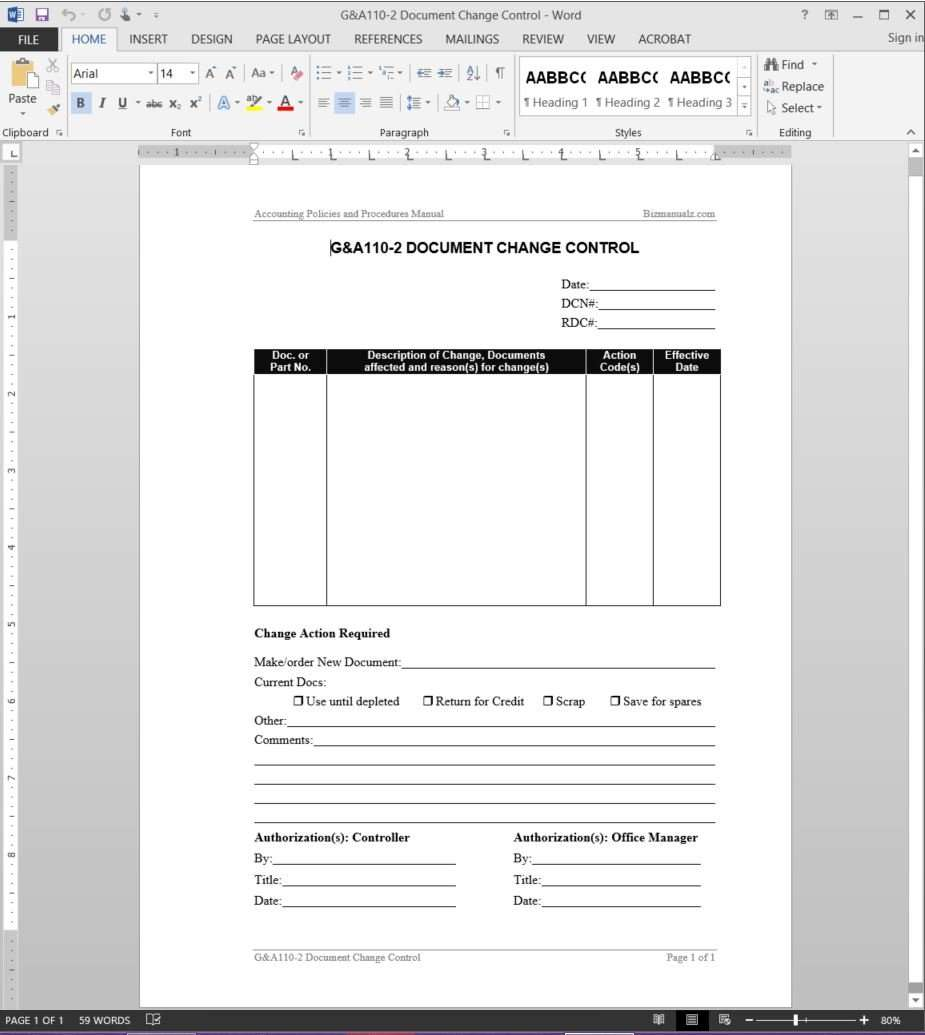 Document change control report template for Free quality control manual template